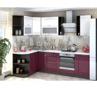 Кухня Роби цвет белый металлик — бордовый металлик 2,8 метра - набирается поэлементно