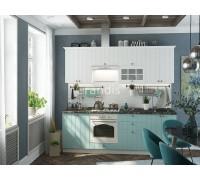 Кухня Тоби цвет голубой - светлое дерево 2,4 метра - набирается поэлементно