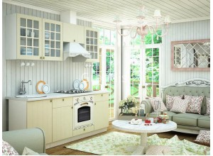 Кухня Деми цвет ваниль 1,8 метра - набирается поэлементно