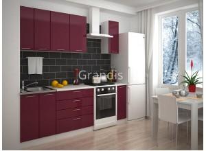 Кухня Смайл цвет бордовый глянец 1,7 метра - набирается поэлементно