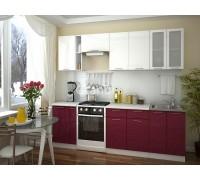 Кухня Смайл цвет белый металлик - бордовый металлик 2,6 метра - набирается поэлементно