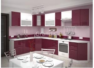 Кухня Смайл цвет белый металлик - бордовый металлик 3,4 метра - набирается поэлементно