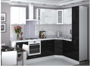 Кухня Смайл цвет белый металлик - черный металлик 2,9 метра - набирается поэлементно
