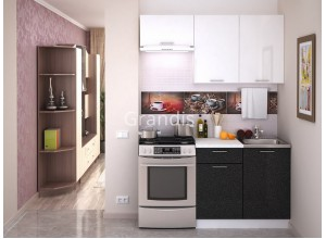 Кухня Смайл цвет белый металлик - черный металлик 1,6 метра - набирается поэлементно