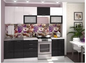 Кухня Смайл цвет белый металлик - черный металлик 2,6 метра - набирается поэлементно