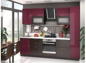 Кухня Смайл цвет бордовый металлик - венге 2,7 метра - набирается поэлементно