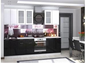 Кухня Смайл цвет белый металлик - черный металлик 2,8 метра - набирается поэлементно