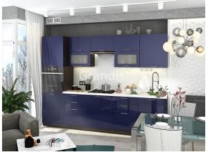 Кухня Смайл цвет синий глянец 3 метра - набирается поэлементно