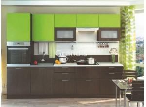 Кухня Смайл цвет лайм глянец - венге 2,7 метра - набирается поэлементно