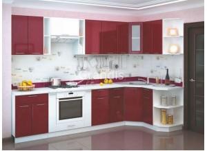 Кухня Смайл цвет бордовый глянец - белый металлик 3,2 метра - набирается поэлементно