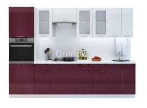 Кухня Смайл цвет белый металлик - бордовый металлик 3 метра - набирается поэлементно
