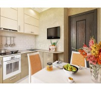 СОЛО - кухня с фасадами пластик HPL (размер 2,8×2,1 метра)