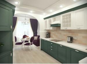 Bossi - кухня с переходом на короб вентиляции на площадь 12,3 кв. м.