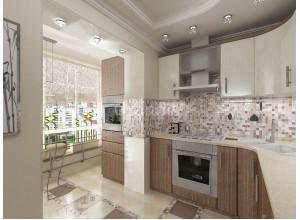 ФЛАВИЯ - кухня с витринами, размер 11,9кв метра